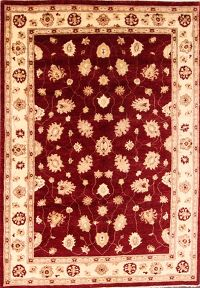 All-Over Peshawar Pakistan Oriental Hand-Knotted 5x7 Wool Area Rug