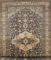 Mansion Size Geometric Heriz  Indian Oriental Wool Rug 12x24