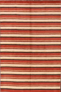 Striped Multi-Colored Modern Gabbeh Hand-Knotted 7x10 Wool Rug