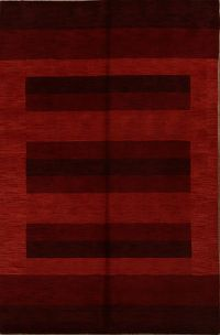 Stripe Red Modern Gabbeh Oriental Hand-Knotted Area Rug 7x10
