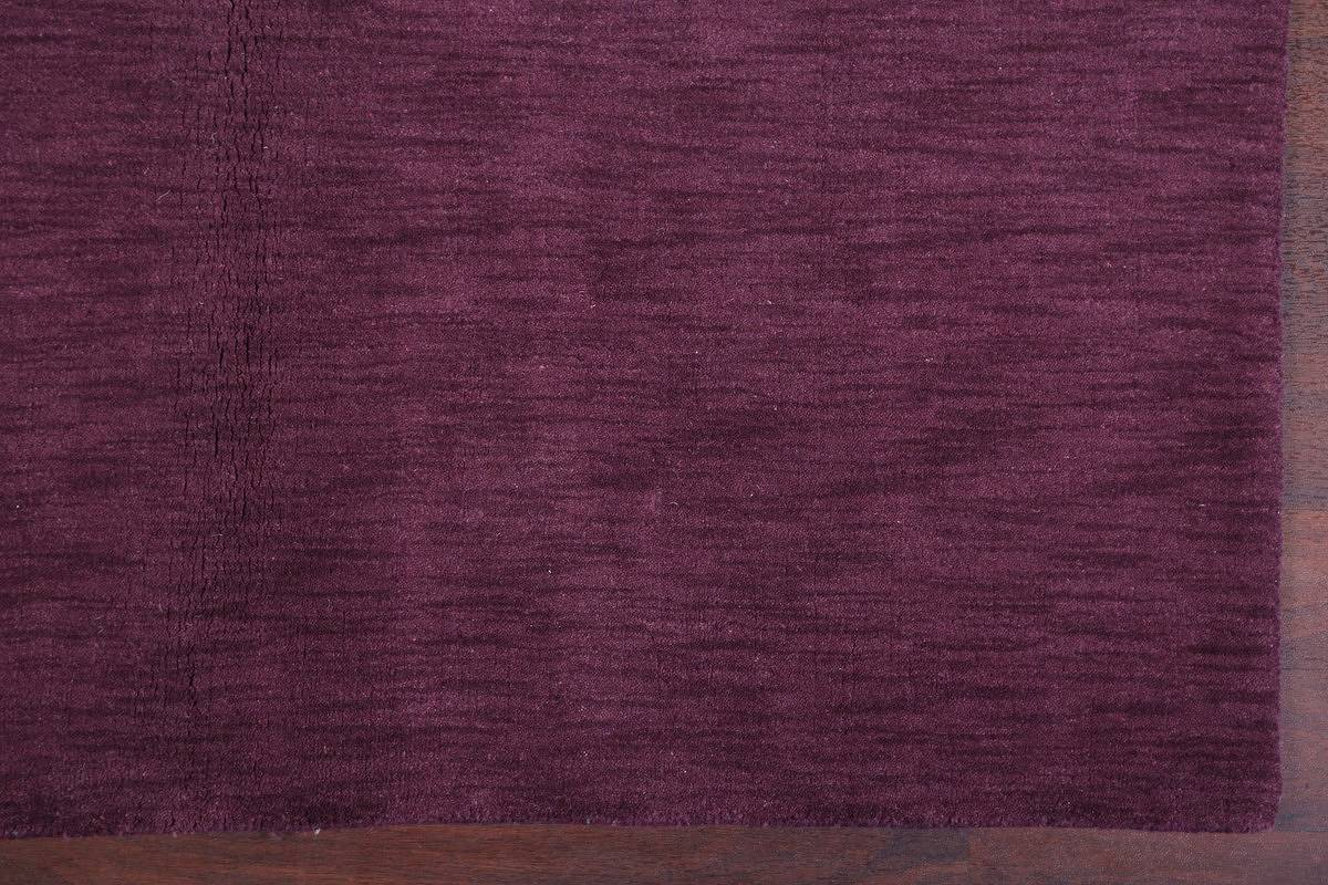 Solid Purple Gabbeh Indian Oriental Hand-Knotted Area Rug Wool 6x8