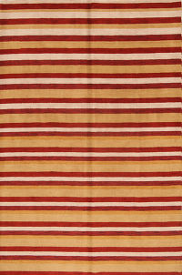 Striped Contemporary Gabbeh Beige/Gold/Red 7x10 Oriental Area Rug