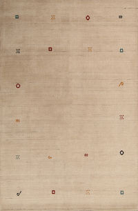 Contemporary Abstract Gabbeh Hand-Knotted 6x10 Wool Ivory Rug