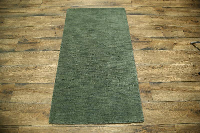 Modern Green Gabbeh Indian Oriental Hand-Knotted Area Rug Wool 3x5