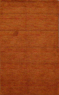 Solid Orange Gabbeh Oriental Area Rug 3x5