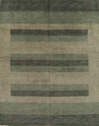 Striped Design Green Modern 8x10 Gabbeh Indian Oriental Area Rug
