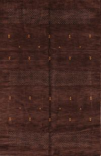 Abstract Mocha Brown 7x10 Gabbeh Oriental Hand-Knotted Area Rug