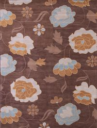 Hand-Tufted Transitional Floral Oushak Oriental Area Rug 4x6