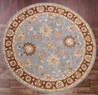 Hand-Tufted Light Blue Oushak Oriental Round Rug 7x7