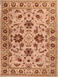 Traditional Floral Hand-Tufted 10x13 Beige Wool Indian Oriental Area Rug
