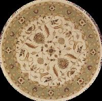 Hand-Tufted Floral Ivory 10x10 Agra Oushak Oriental Round Rug