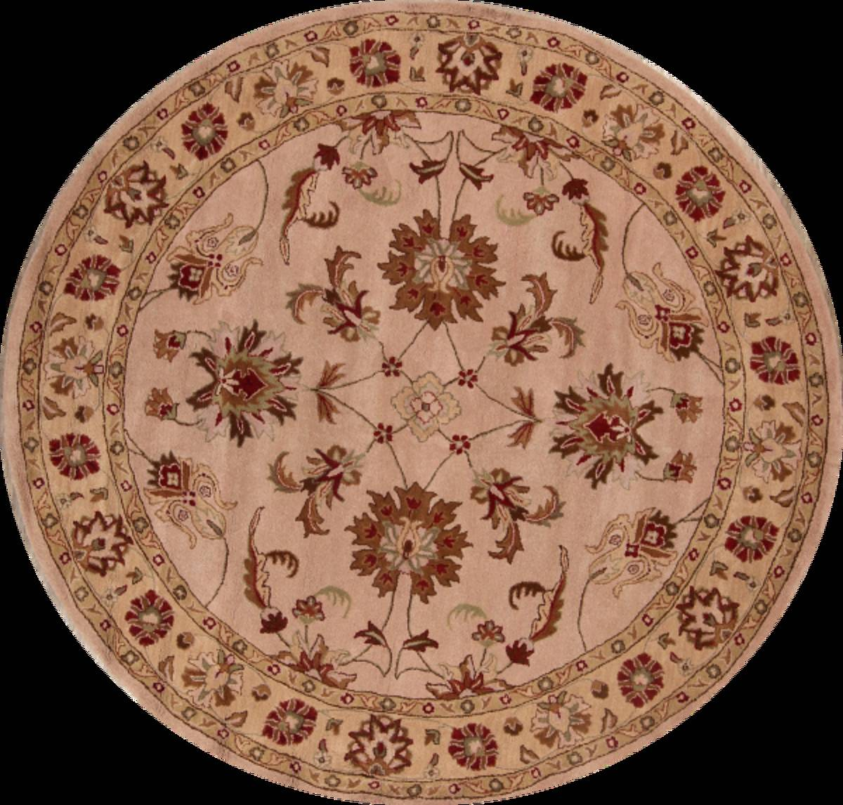Hand-Tufted Floral 10x10 Oushak Agra Oriental Round Rug image 1