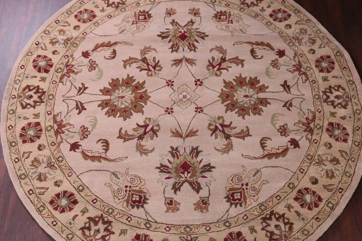 Hand-Tufted Floral 10x10 Oushak Agra Oriental Round Rug image 3