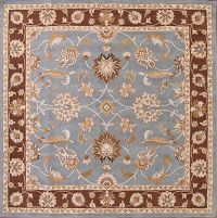 Light Blue Floral Square 10x10 Oushak Agra Oriental Area Rug