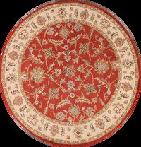 Floral Orange Round Oushak Agra Oriental Hand-Tufted Area Rug Wool 8x8