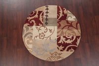 Patchwork Round 5x5 Oushak Oriental Area Rug
