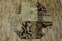 All-Over Agra Oushak Indian Oriental Hand-Tufted 8x8 Octagon Rug