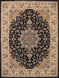 Hand-Tufted Floral Black  Oushak Oriental Area Rug 8x11