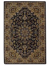 Traditional Floral Black Tabriz Hand-Tufted Oriental Area Rug 7x10 Wool