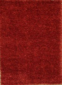 4x6 Modern Red Shaggy Oriental Area Rug
