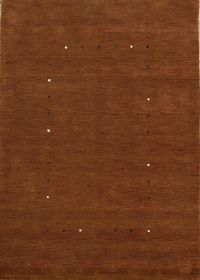 Abstract Contemporary 6x8 Gabbeh Hand-Knotted Rust Oriental Area Rug