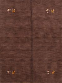 Modern Brown Gabbeh Indian Oriental Hand-Knotted 5x6 Wool Area Rug