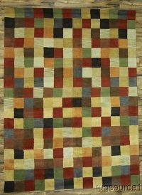 Checked Gabbeh Indian Oriental Hand-Tufted 9x12 Wool Area Rug