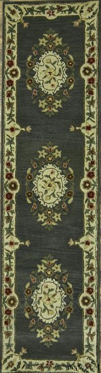 Charcoal Grey Aubusson Oriental Runner Rug