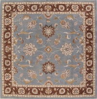 Hand-Tugted Light Blue Square Agra Oriental Area Rug 12x12