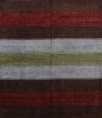 Striped Square 10x10 Gabbeh Oriental Area Rug
