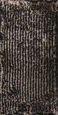 Striped Plush Modern Black/Gold 3x5 Silky Shaggy Shag Oriental Rug
