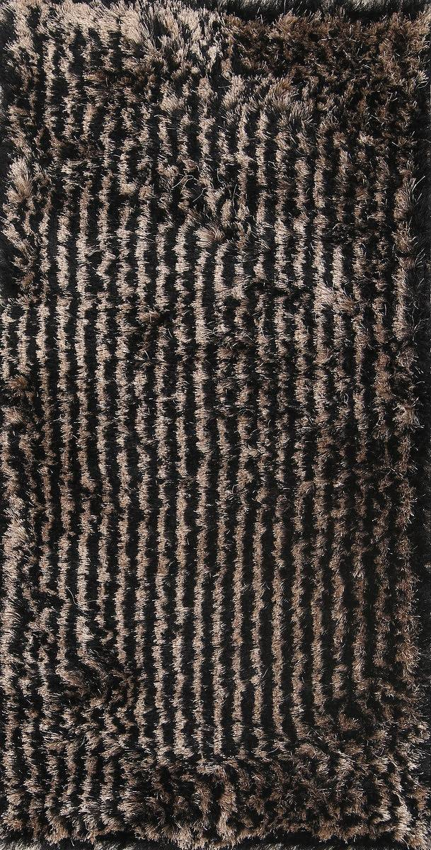 Striped Plush Modern Black Gold 3x5 Silky Shaggy Shag Oriental Rug