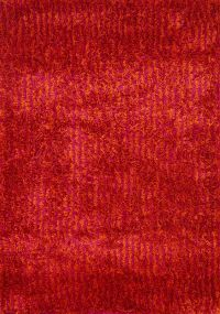 Contemporary Red Shaggy Shag Indian Oriental Hand-Tufted 5x7 Area Rug