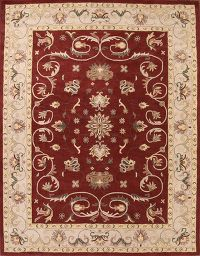 Floral Red Agra Oushak Indo Oriental Wool Area Rug 10x13