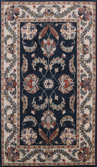 Floral Navy Blue Oushak Oriental Area Rug 5x8