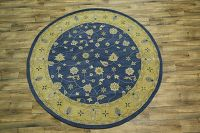 Hand-Tufted Blue Round Oushak Oriental Area Rug 8x8
