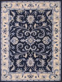Hand-Tufted Blue Agra Indian Oriental Area Rug 5x8