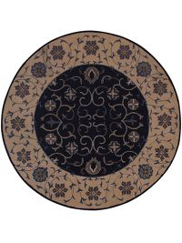 Hand-Tufted Floral Oushak Navy Blue Round Oriental Rug 6x6