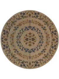 Hand-Tufted Floral Ivory Oushak Agra Oriental Area Rug 8x8