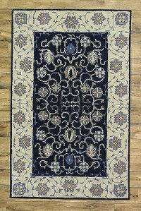Traditional Vintage Style Oushak Oriental Hand-Tufted 9x12 Navy Blue Area Rug