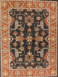 Geometric Charcoal Oushak Hand-Tufted Oriental Area Rug 6x9
