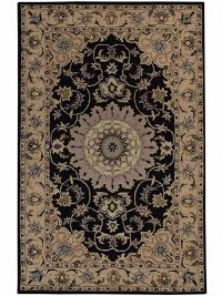 Floral Black Tabriz Agra Indian Oriental Hand-Tufted Area Rug Wool 5x8