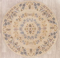 Traditional Floral Kashan Agra Oriental Round Area Rug 5x5