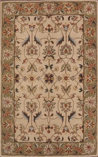 Hand-Tufted Floral Oushak Ivory Oriental Area Rug 8x11