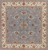 Light Blue Square 10x10 Oushak Agra Oriental Area Rug
