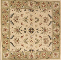 Traditional Floral Oushak Hand-Tufted Ivory/Green 10' Square Wool Rug