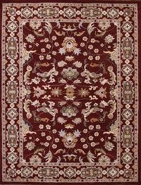 Hand-Tufted All-Over Floral Oushak Burgundy Oriental Area Rug 10x13