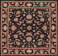 Hand-tufted Floral Black Oriental Area Rug 10x10 Square