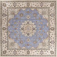 Light Blue Floral Square 10x10 Kashan Oriental Area Rug