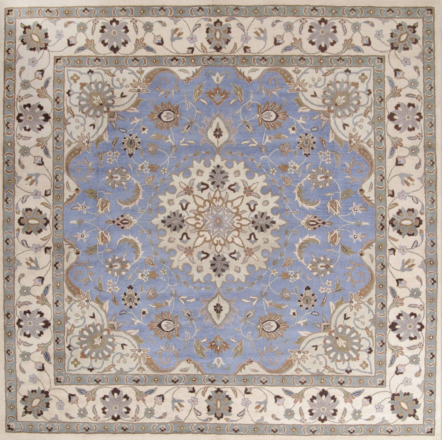 10x10 Square New Oushak Oriental Wool Area Rug: Light Blue Floral Square 10x10 Kashan Oriental Area Rug